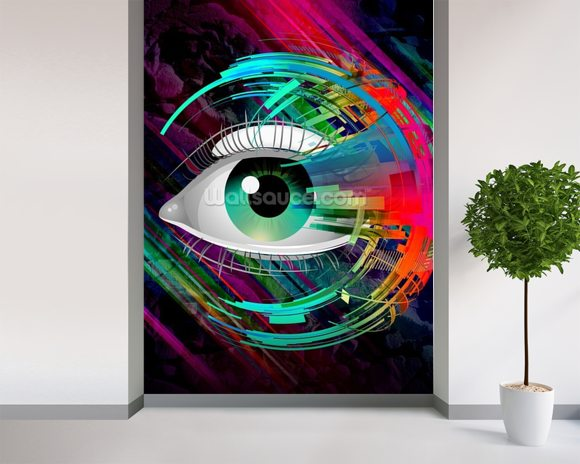Bright Eye mural wallpaper room setting