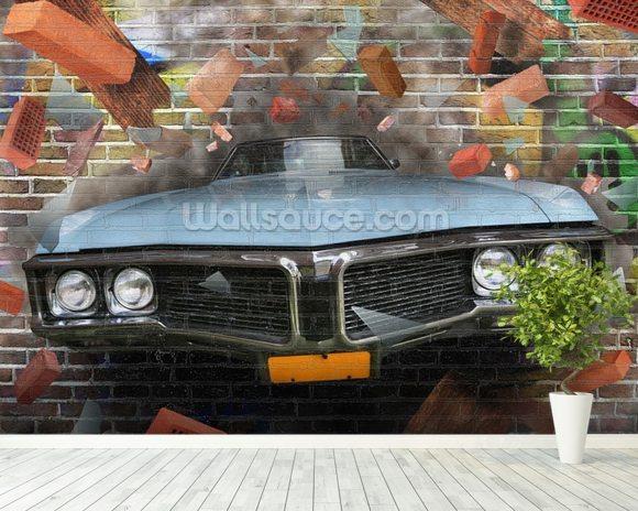 Graffiti   Car Smash Wallpaper Mural Room Setting
