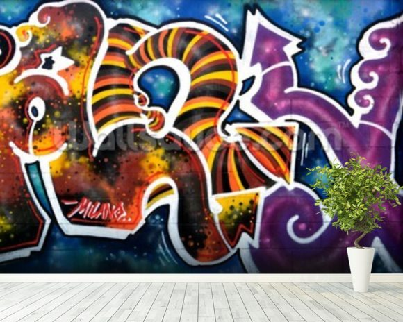 Graffiti - Scibble mural wallpaper room setting