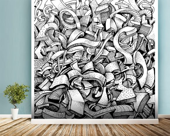 Abstract Doodles wall mural room setting