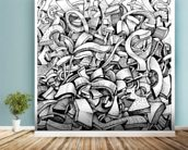 Abstract Doodles wall mural in-room view