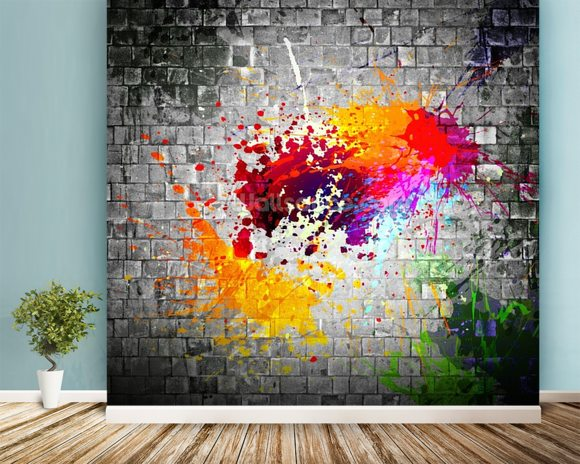 Ink Splatter wallpaper mural room setting