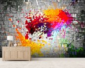 Ink Splatter wallpaper mural living room preview