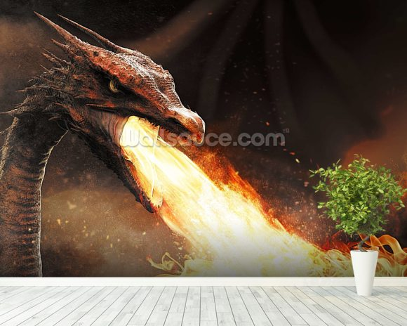 Dragon Fire wallpaper mural room setting