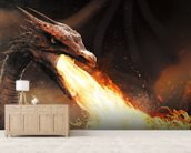 Dragon Fire wallpaper mural living room preview