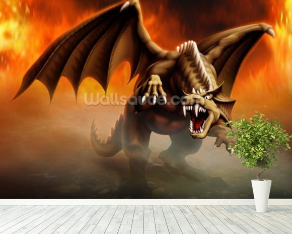 Dragon Attack wall mural room setting