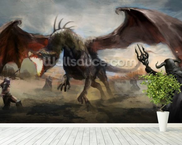 Knights Fight Black Dragon wallpaper mural room setting