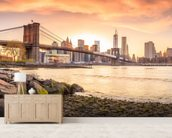 Brooklyn Bridge at Sunset mural wallpaper living room preview