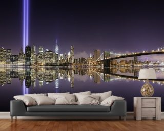 New York - Tribute Lights Brooklyn Bridge wallpaper mural