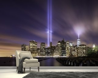 New York - Tribute Lights 9-11 mural wallpaper
