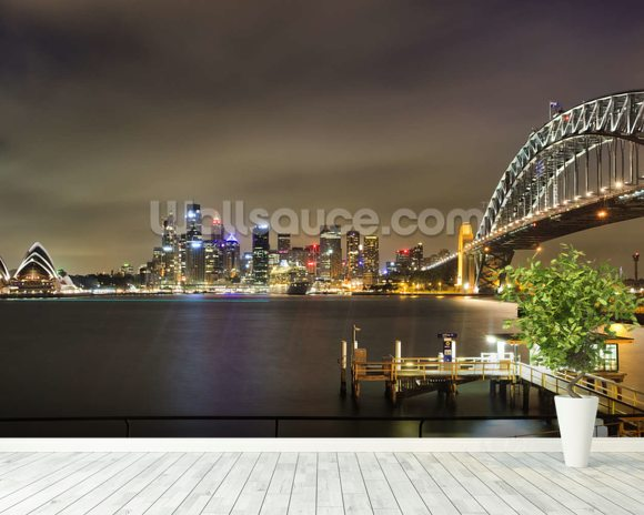Sydney Harbour Bridge wallpaper mural room setting
