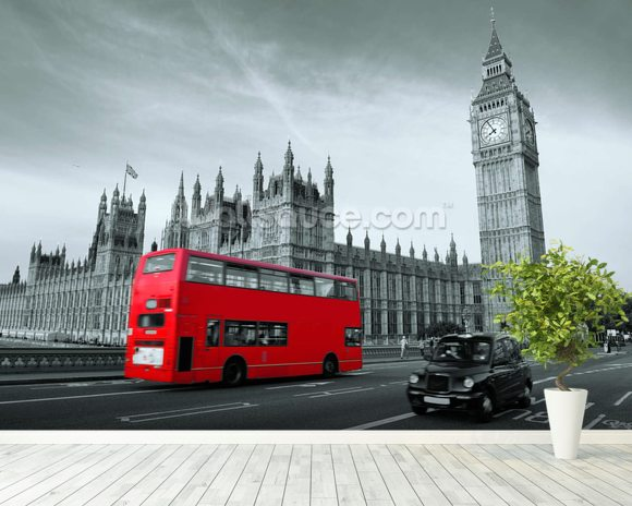 London Bus Colour Wash wall mural room setting