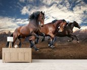 Jumping Bay Horses mural wallpaper living room preview
