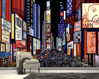 New York - Night View of Times Square wallpaper mural