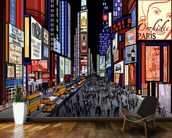 New York - Night View of Times Square wallpaper mural kitchen preview