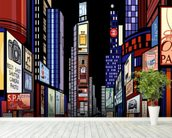 New York - Night View of Times Square wallpaper mural in-room view