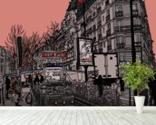 Paris Metro Station Retro wallpaper mural in-room view