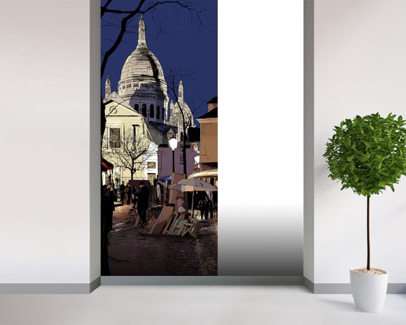 Montmartre in winter wallpaper wall mural wallsauce usa for Winter wall murals