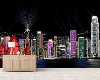 Hong Kong by Night Retro Wallpaper Wall Murals