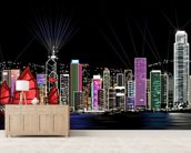 Hong Kong by Night Retro wallpaper mural living room preview