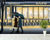 Strolling in the Rain wallpaper mural in-room view