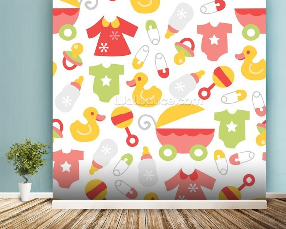 Nursery baby girl wallpaper wall mural wallsauce for Baby mural wallpaper