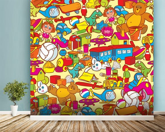 toys wallpaper wall mural wallsauce usa. Black Bedroom Furniture Sets. Home Design Ideas