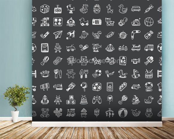 Toy Doodles Charcoal wallpaper mural room setting