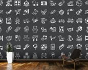 Toy Doodles Charcoal wallpaper mural kitchen preview