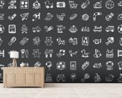 Toy Doodles Charcoal wallpaper mural living room preview