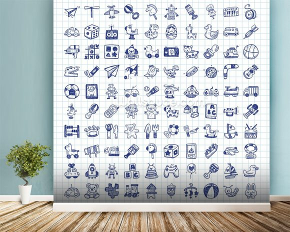 Toy Doodles mural wallpaper room setting