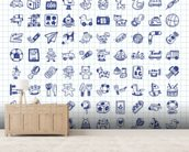 Toy Doodles mural wallpaper living room preview