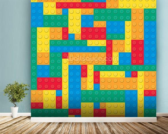 Lego Blocks Effect wall mural room setting