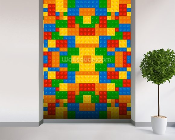 Lego Pattern Effect wallpaper mural room setting