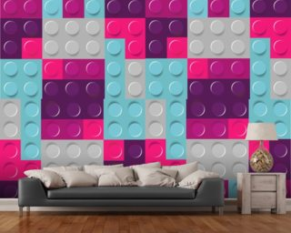 Lego Purples Effect mural wallpaper