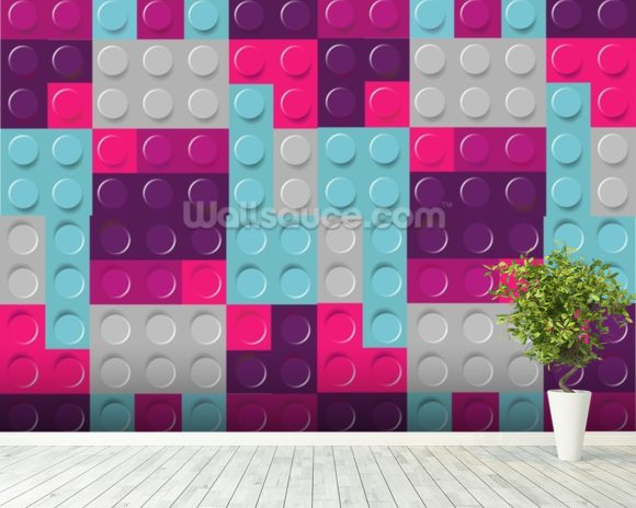 Lego purples effect wallpaper wall mural wallsauce for Purple brick wallpaper