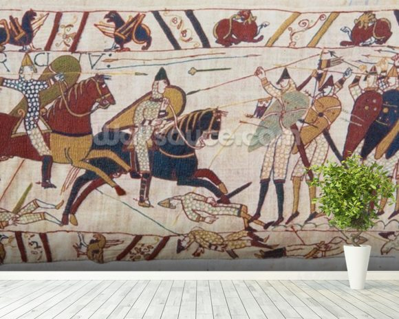 Bayeux tapestry - Norman invasion of England mural wallpaper room setting