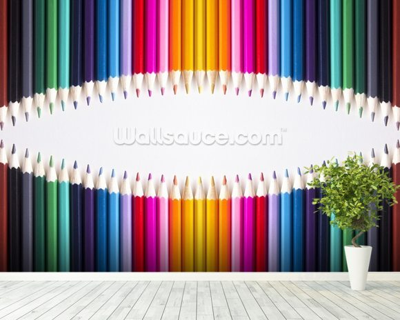 Bright Coloured Pencils wallpaper mural room setting