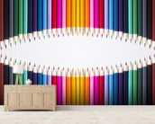 Bright Coloured Pencils wallpaper mural living room preview