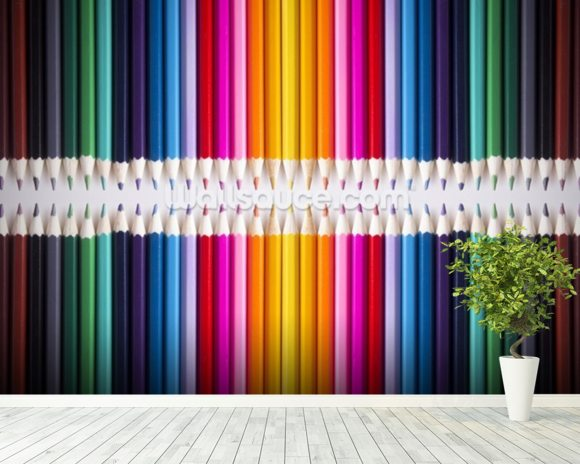 Line of Coloured Pencils mural wallpaper room setting