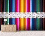 Line of Coloured Pencils mural wallpaper living room preview