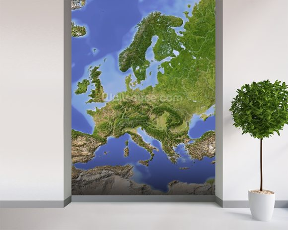 Relief Map of Europe wallpaper mural room setting
