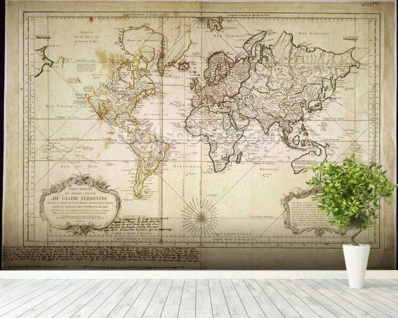 Historic world map wallpaper wall mural wallsauce for Colonial mural wallpaper