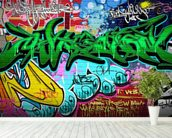 Graffiti Art Vector Background. Urban wall wallpaper mural in-room view