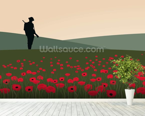 The Lone Soldier WW1 wallpaper mural room setting