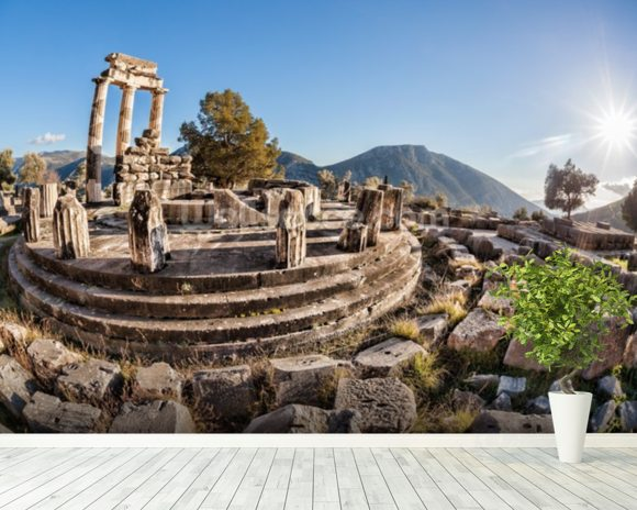 The Temple of Athena, Delphi, Greece wall mural room setting