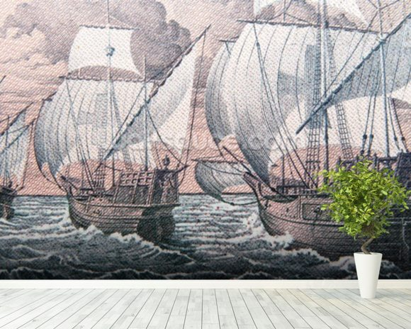 Christopher Columbus - Niña, Pinta & Santa Maria wall mural room setting