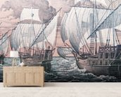 Christopher Columbus - Niña, Pinta & Santa Maria wall mural living room preview