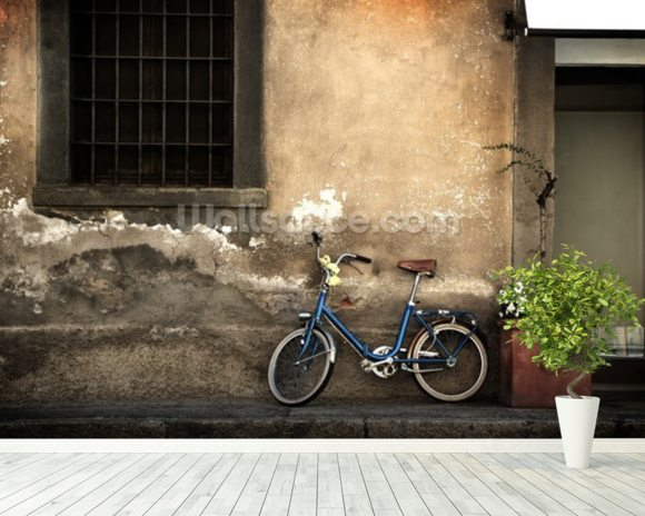 Old Italian Style Bicycle mural wallpaper room setting