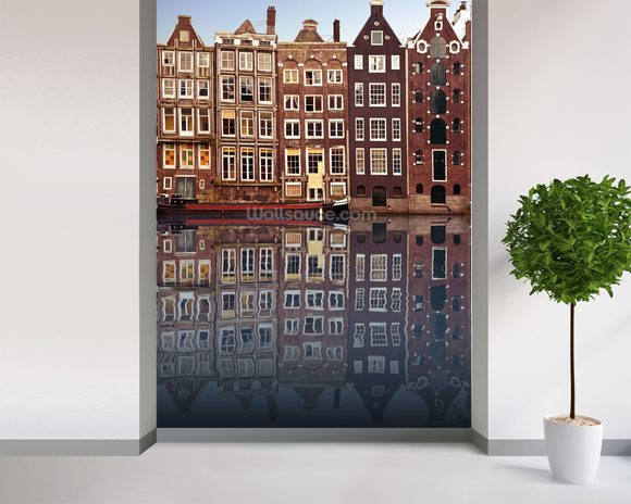 Amsterdam Houses Reflection mural wallpaper room setting